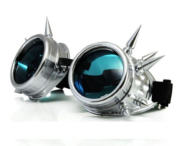 Cyber Goggles Spikes Nieten Schweisserbrille Biohazard  Goggle Gothic Brille Neu