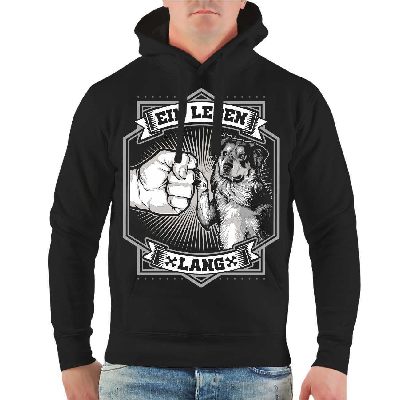 Kapuzenpullover Sweatshirt Hoodie Australian Shepherd Schwarz Größe S - 8XL