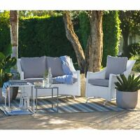 White 2 Piece Resin Patio Glider Chair Seating Set Outdoor Home Furniture Garden