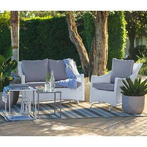 Astounding Details About White 2 Piece Resin Patio Glider Chair Seating Set Outdoor Home Furniture Garden Machost Co Dining Chair Design Ideas Machostcouk