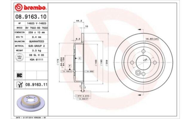 2x BREMBO Discos de Freno Traseros Pleno 259mm Para MINI 08.9163.11