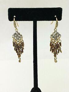 Major-Dept-Store-Rhinestone-Diamond-Crystal-Fringe-Gold-Drop-Dangle-Earrings