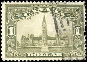 Canada-1929-Used-1-00-F-Scott-159-King-George-V-Scroll-Stamp