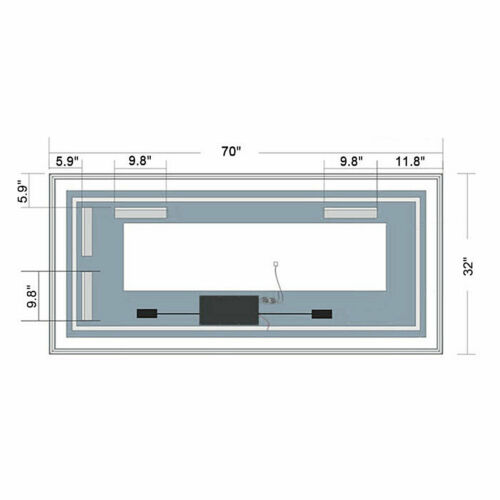 Dimmable Antifog LED Bathroom Mirror Vertical Horizontal Wall Mirror Bluetooth