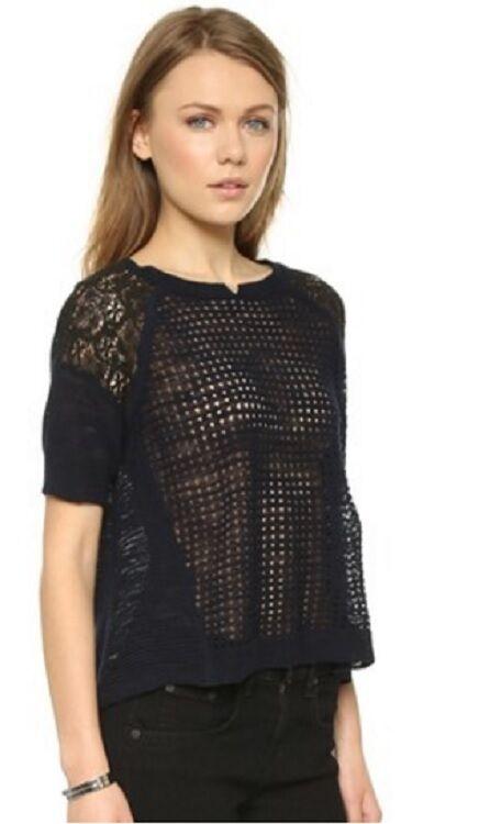 Rebecca Taylor Navy Lace Panel Sweater Größe Small