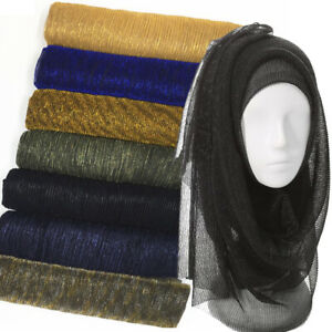 Womens-Shimmer-Pleated-Hijab-Scarf-Plain-Shining-Crinkle-Shawl-Muslim-Scarves