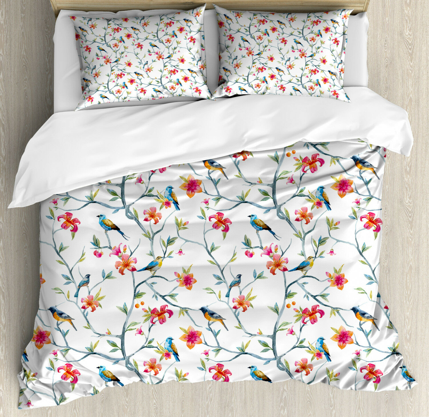 Watercolor Duvet Cover Set with Pillow Shams Birds on Branches Print
