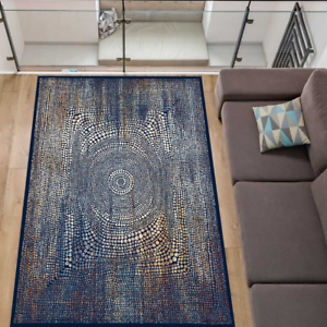 Teppich Stylisch Modern Wohnzimmer Stamm-Muster Kurzflor Blau meliert 5 Größen
