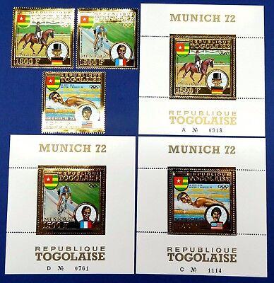 Togo 1973 Olympiade Olympics Munich 1972 Gold 962-964 Block 70-72 Mnh M€565
