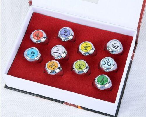 Naruto Rings //10 pcs NARUTO Akatsuki Cosplay member/'s Ring Set New Hot Sell