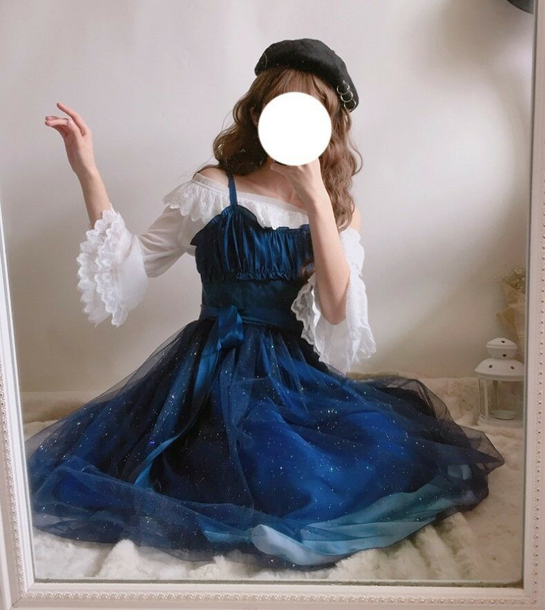 Stary Sky Gradient bluee Women's Summer Suspender Dress Veil Fairy Kei Lolita