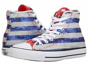 2eab2969587ac8 CONVERSE Chuck Taylor Sequin AMERICAN FLAG All Star Hi Top Sneakers ...
