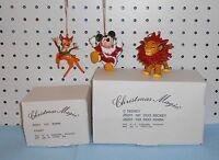 Bambi, Mickey Mouse & Simba Ornaments - Grolier -