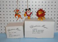 Bambi, Mickey Mouse & Simba Ornaments - Grolier -