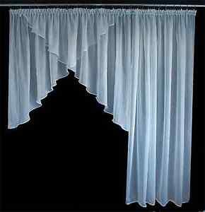 2 Tlg Balkon Balkontur Fenster Gardine Voile Weiss Braun Mocca 650