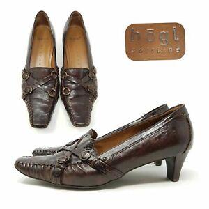 Hogl-Braun-Leder-Pumps-Schuhe-Steampunk-UK-5-5-EU-38-5-Heels-Schuhe-Smart-Schrullig