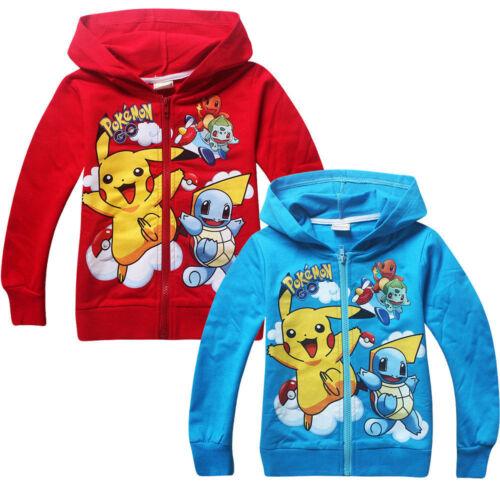 POKEMON Kids Boys Girls Pikachu Squirtle Hoodies Sweatshirts Tops T Shirt Coat-2