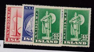 Iceland-1939-New-York-World-Fair-Set-SG238-240-MNH-JK1865