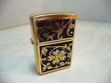 ZIPPO  ACCENDINO  LIGHTER  GOLD FLORAL PLACCA BRASS  NEW