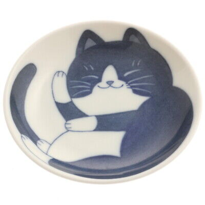 "Set of 4 PCS Japanese 4/""D Sushi Soy Sauce Wasabi Dish Blue Tabby Cat JAPAN MADE"