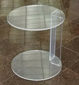 CHIC-VINTAGE-1970-039-S-LUCITE-ROUND-TOP-amp-BASE-OCCASIONAL-SIDE-TABLE