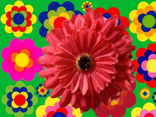 A17 ✪ 70er anni Festival Hippie Flower-Power GERBERA Capelli Fermaglio Capelli in Gomma Rosso
