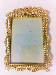 ELEGANT-BAROQUE-GOLD-METAL-TABLE-TOP-PHOTO-PICTURE-FRAME-SPARKLING-GEMS-3-5-034-X5-034