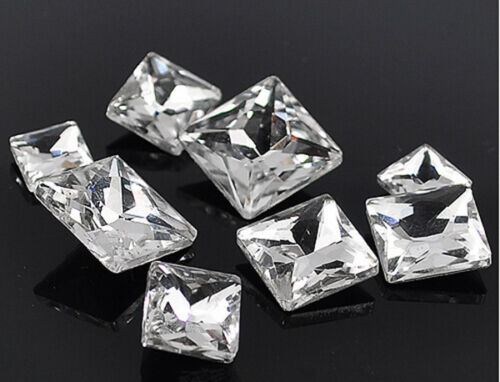 Clear square shape rhinestone cut crystal glass cabochons foiled point back diy