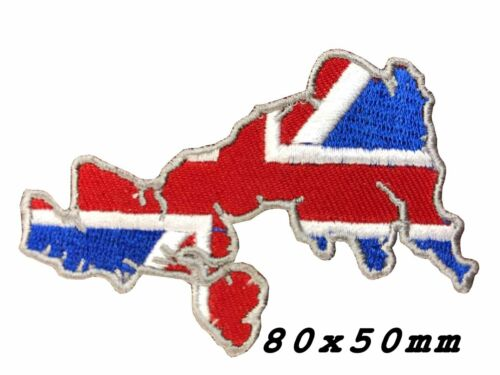 union jack Map racing skull biker motorcycle iron on patch SEW ON BADGE