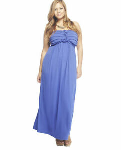 Details about WET SEAL solid lavender blue strapless full length maxi dress  plus size 2X dress