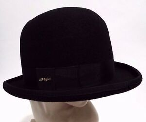 11888dfd109 New Mens Gents Wool Felt Black Tall Bowler Hat Formal Funeral Events ...