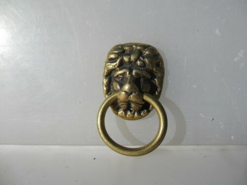 Vintage Brass Lion Head Loop Handles Pulls Antique Old Hardware Drawer Tie