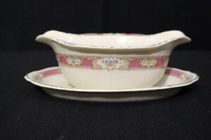Rare Vintage Federal Shape Syracuse China Raleigh Pink Gravy Boat W