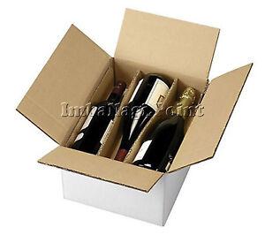 Strict 5 Pezzi Scatola Cartone Spedizione 3 Bottiglie - Vino - Liquori Con Separatore Fabrication Habile