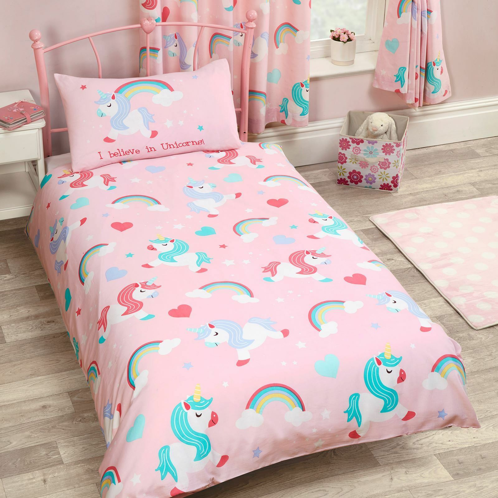 single bed unicorn girls duvet cover pink set bedding quilt double itm