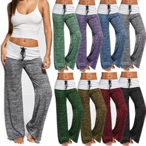 Women Foldover Wide Leg Palazzo Trousers Long Yoga Loose Fit Harem Pants Trouser