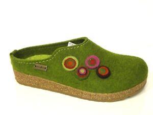 Haflinger-Schuhe-Hausschuhe-Pantoffel-Puschen-Clogs-Grizzly-Kanon-gruen-Filz