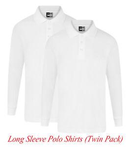 4f2fc9ed Boys Girls Long Sleeves Polo Shirt White Twin Pack x2 Autumn/Winter ...