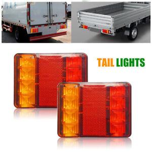 2X-12V-8-LED-Indicateur-Lampe-Feux-Arriere-Lumieres-pour-Camion-Voiture-Remorque
