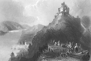 Germany-BRAUBACH-RHEIN-RHINE-RIVER-CASTLE-MARKSBURG-1865-Art-Print-Engraving