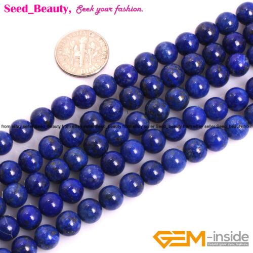 "AA Natural Round Blue Lapis Lazuli Gemstone Beads For Jewelry Making Strand 15/"""