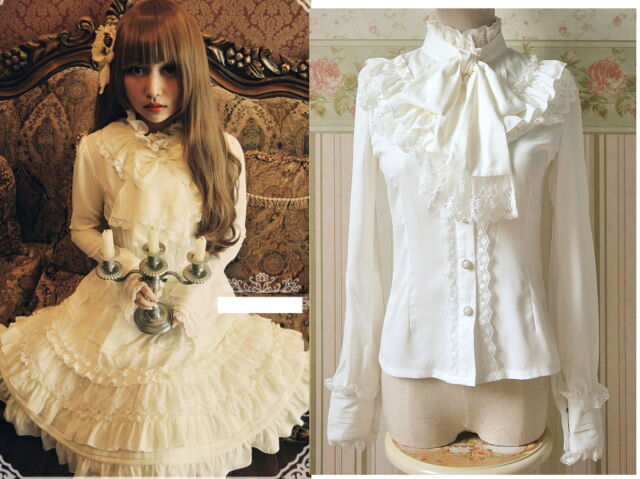 Trendy Sweet Lolita Princess Punk Cute Kawaii long Sleeve Slim Shirt Blouse S~XL