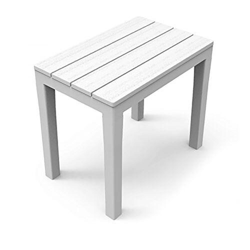 Mojawo ® Banc Table D/'appoint 60x38x45cm blanc plastique avec holzprägung