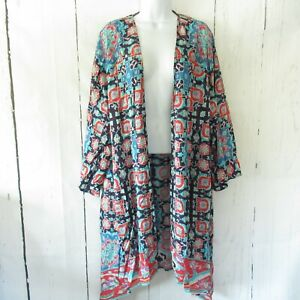 New-Tolani-Ramina-Kimono-1X-Blue-3-4-Sleeve-Printed-Duster-Cardigan-Plus-Size