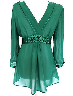 Debenhams • Divinely Feminine Gorgeous Green Sheer Chiffon Top Blouse Tunic • 12