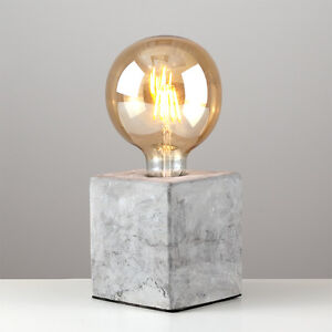 Industrial Style Concrete Cement Cube Edison Table Lamp