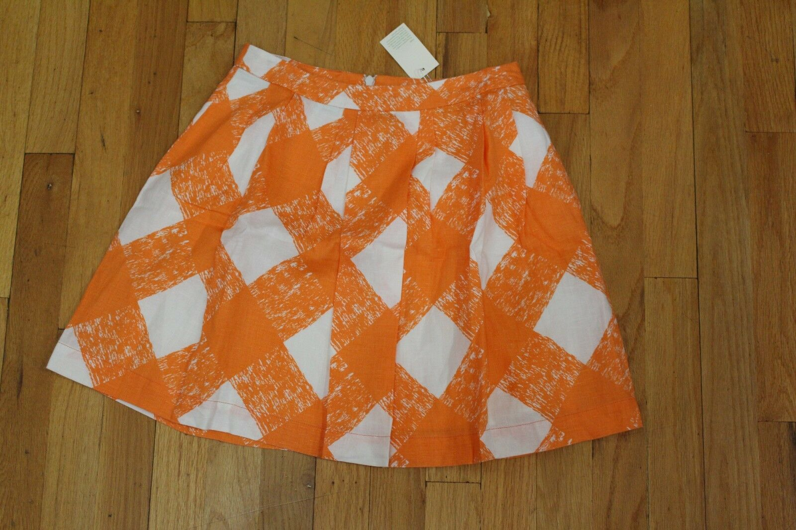 BODEN orange JAFFA PAINTED CHEK LILY MINI SKIRT SIZE 2 US NEW WITH TAGS