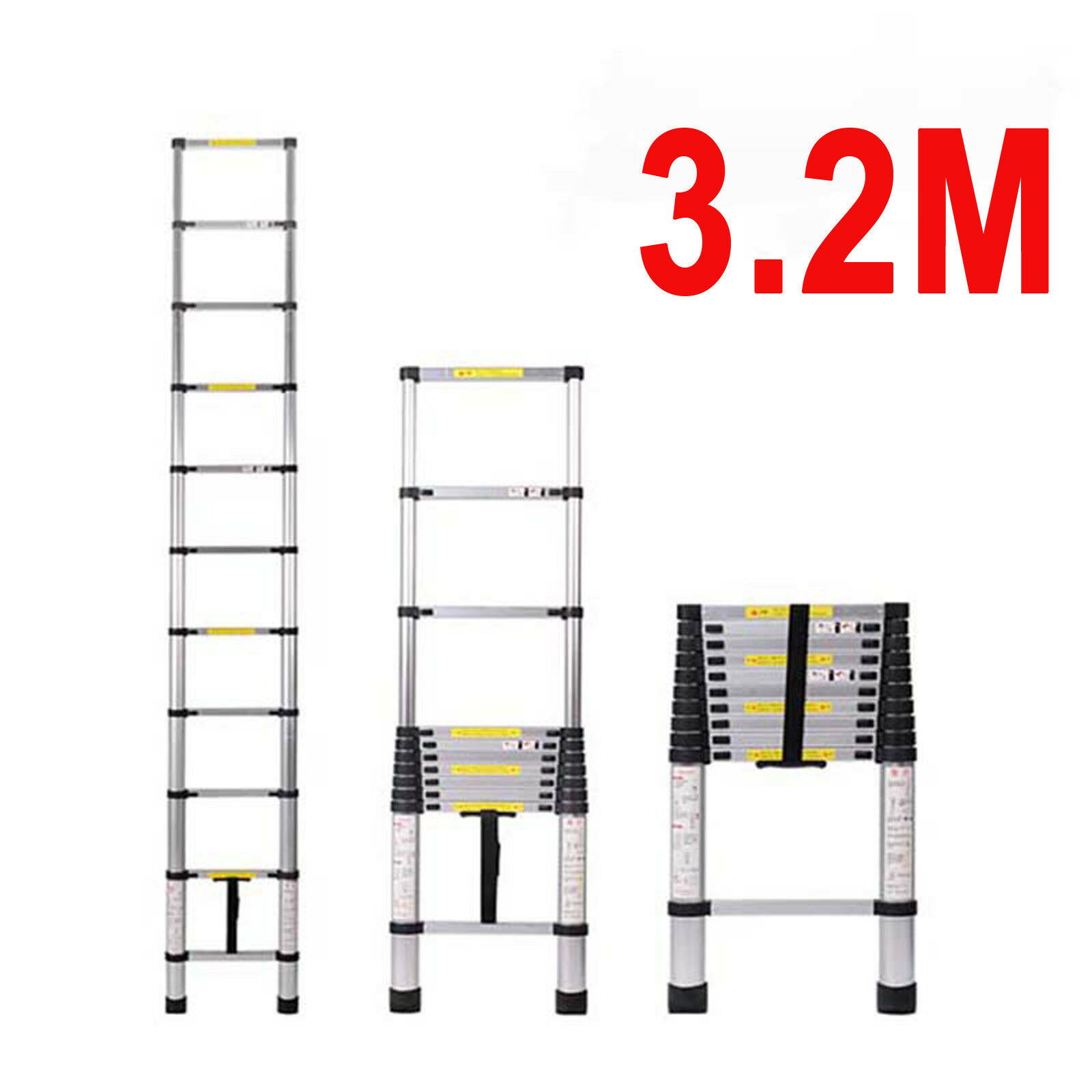 10.5FT Multipurpose Aluminum Ladder Collapsible Extend Telescopic Garden Tool