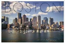 Boston Massachusetts, Harbor & Skyline, Sailboats, Downtown MA - Modern Postcard