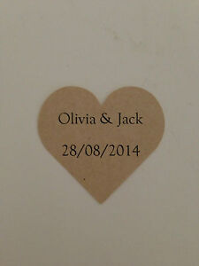 24-x-Kraft-Brown-Paper-HEART-Wedding-Favour-Sticker-Labels-Personalised
